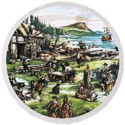 The American Settlers Round Beach Towel