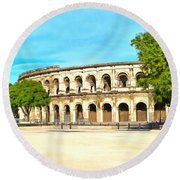 The Amphitheatre Nimes Round Beach Towel by Scott Carruthers