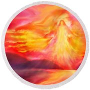 The Angel Of Protection Round Beach Towel