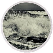The Angry Sea Round Beach Towel