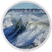 The Angry Sea Round Beach Towel by Tricia Marchlik