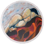 The Anguish Of Love Round Beach Towel by Esther Newman-Cohen