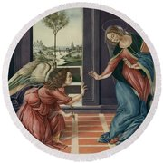 The Annunciation After Botticelli Round Beach Towel