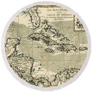 The Antilles And The Gulf Of Mexico Round Beach Towel