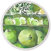 Round Beach Towel featuring the painting The Apple Closet by Mindy Newman