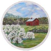 The Apple Farm Round Beach Towel by Stanton Allaben