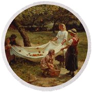 The Apple Gatherers Round Beach Towel by Frederick Morgan