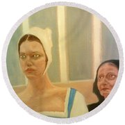 The Apprehension Of Impending Death For Katherine Howard Round Beach Towel