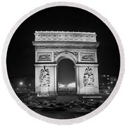 The Arc De Triomphe And The Champs-elysees, Paris, At Night 1969 Round Beach Towel