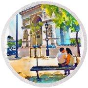 The Arc De Triomphe Paris Round Beach Towel
