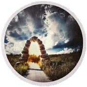 The Arch On The Edge Of Forever Round Beach Towel