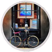 Round Beach Towel featuring the photograph The Art Gallery Bicycle by Craig J Satterlee