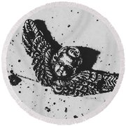 The Art Of A Vintage Angel Round Beach Towel