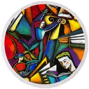 Round Beach Towel featuring the painting The Art Of Learning by Leon Zernitsky
