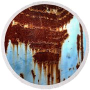 Round Beach Towel featuring the photograph The Art Of Rust by Jerry Sodorff