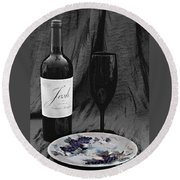 The Art Of Wine And Grapes Round Beach Towel by Sherry Hallemeier