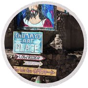 The Art Place In Chimayo Round Beach Towel
