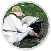 Round Beach Towel featuring the photograph The Artist by Keith Armstrong