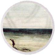 The Artist On The Seashore At Palavas Round Beach Towel