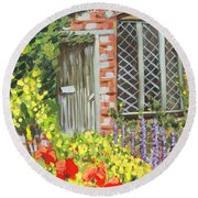 The Artist's Cottage Round Beach Towel by Laurie Morgan