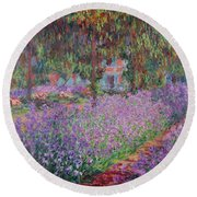 The Artists Garden At Giverny Round Beach Towel by Claude Monet