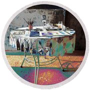 The Artists Table Round Beach Towel by Don Pedro De Gracia