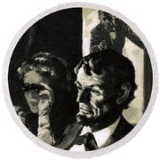 The Assassination Of Abraham Lincoln Round Beach Towel