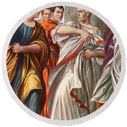 The Assassination Of Julius Caesar Round Beach Towel