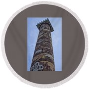 Round Beach Towel featuring the photograph The Astoria Column by Thom Zehrfeld