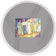 The Aunts Come Calling Round Beach Towel by Tara Moorman