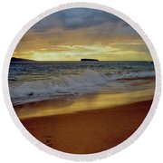 The Aura Of Molokini Round Beach Towel