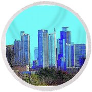 The #austin #skyline On A Sunny, Cold Round Beach Towel