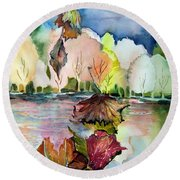 The Autumn Leaves Drift By My Window Round Beach Towel by Mindy Newman