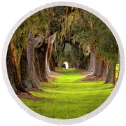 The Avenue Of Oaks 4 St Simons Island Ga Art Round Beach Towel by Reid Callaway