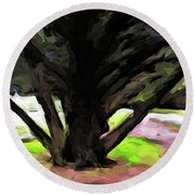 The Avenue Of Trees 1 Round Beach Towel