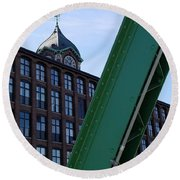 The Ayer Mill And Clock Tower Round Beach Towel