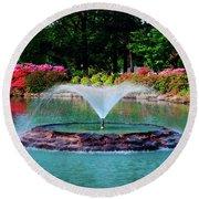 The Azalea Pond At Honor Heights Park Round Beach Towel