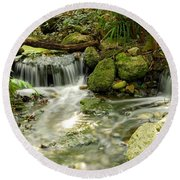 The Babbling Brook Round Beach Towel