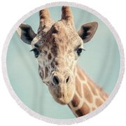 The Baby Giraffe Round Beach Towel