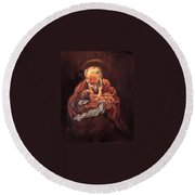 Round Beach Towel featuring the painting The Baby Jesus - A Study by Donna Tucker