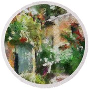Round Beach Towel featuring the painting The Back Door by Dragica  Micki Fortuna