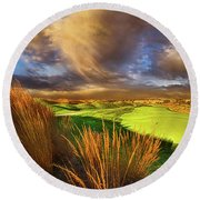 The Back Nine Round Beach Towel by Phil Koch