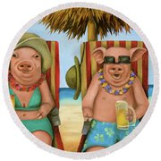 The Bacon Shortage 2 Round Beach Towel by Leah Saulnier The Painting Maniac