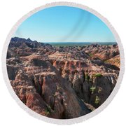 Round Beach Towel featuring the photograph The Badlands by Sharon Seaward