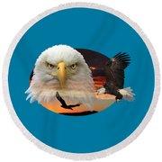 The Bald Eagle 2 Round Beach Towel