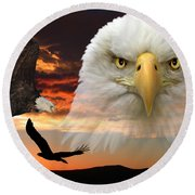 Round Beach Towel featuring the photograph The Bald Eagle by Shane Bechler