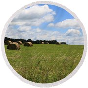 Round Beach Towel featuring the photograph The Bales Of Summer 2 by Rick Morgan
