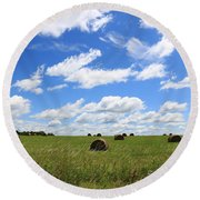 Round Beach Towel featuring the photograph The Bales Of Summer 3 by Rick Morgan