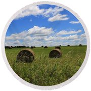 Round Beach Towel featuring the photograph The Bales Of Summer by Rick Morgan