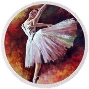 The Dancer Tilting - Adaptation Of Degas Artwork Round Beach Towel